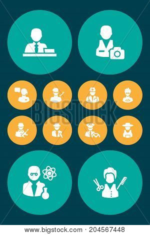 Collection Of Artist, Coder, Journalist And Other Elements.  Set Of 12 Position Icons Set.