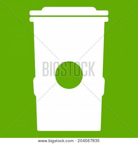 Trash can icon white isolated on green background. Vector illustration