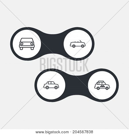 Collection Of Car, Front View, Taxi And Other Elements.  Set Of 4 Transport Outline Icons Set.