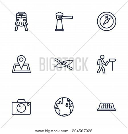 Collection Of Compass, Boat, Front View Tram And Other Elements.  Set Of 9 Relax Outline Icons Set.