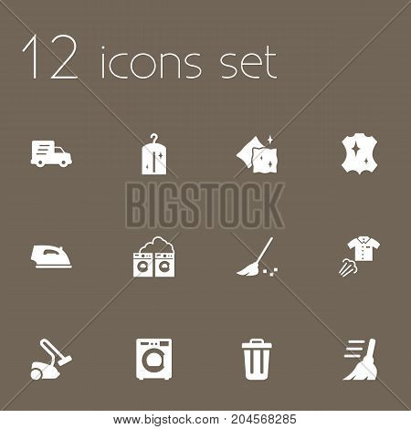 Collection Of Besom, Garbage Container, Cushion And Other Elements.  Set Of 12 Cleanup Icons Set.
