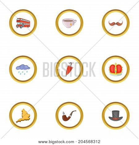 Typical London icons set. Cartoon style set of 9 typical London vector icons for web design