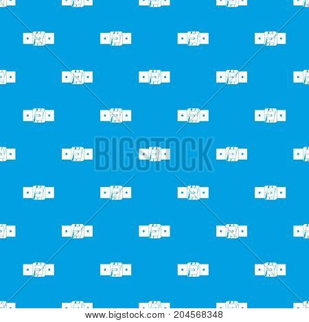 Square belt buckle pattern repeat seamless in blue color for any design. Vector geometric illustration