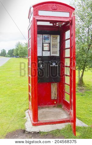Scotland august 2014 : In Edimbourgh survives the historic red telephone box designed by Sir Gilbert Scott much appreciated by vintage enthusiasts who in August are looking for antique objects in the famous capital