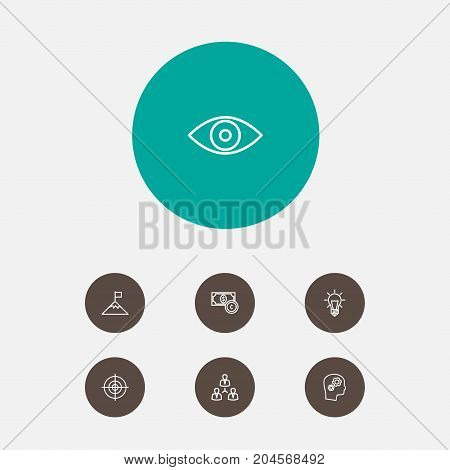 Collection Of Eye, Idea, Target And Other Elements.  Set Of 7 Strategy Outline Icons Set.