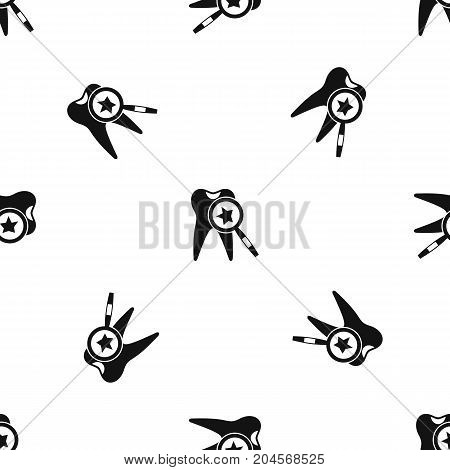 Tooth with magnifying glass pattern repeat seamless in black color for any design. Vector geometric illustration