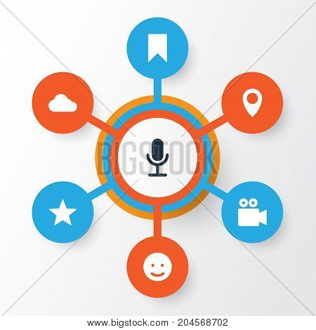 Media Icons Set. Collection Of Star, Smile, Pin And Other Elements