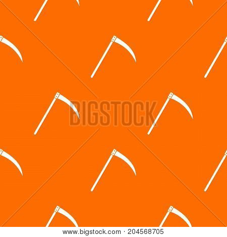 Scythe pattern repeat seamless in orange color for any design. Vector geometric illustration