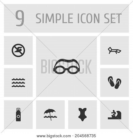 Collection Of Wave, No Swimming Sign, Swimwear And Other Elements.  Set Of 9 Seaside Icons Set.