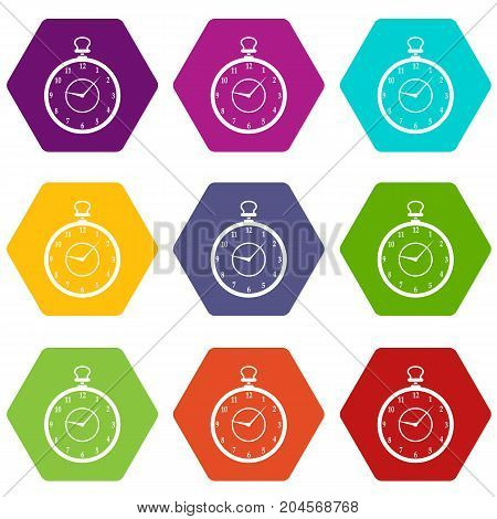 Watch icon set many color hexahedron isolated on white vector illustration