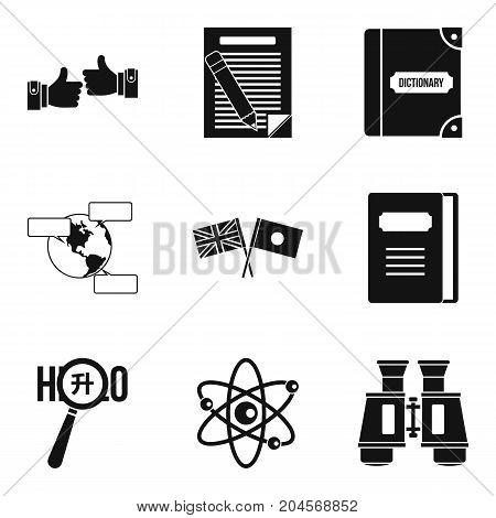 Translator icons set. Simple set of 9 translator vector icons for web isolated on white background