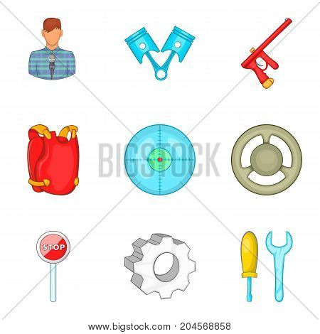 Safeness icons set. Cartoon set of 9 safeness vector icons for web isolated on white background