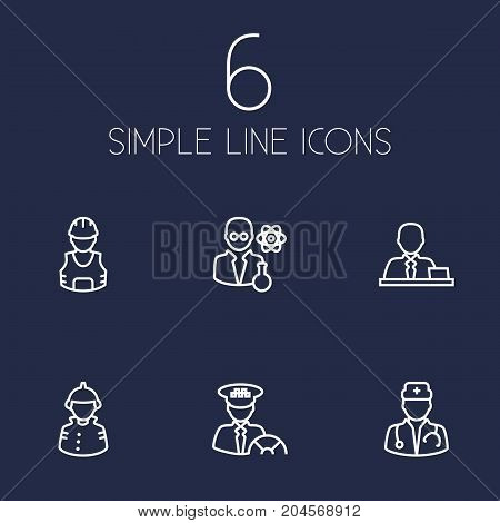 Collection Of Scientist, Taxi, Firefighter And Other Elements.  Set Of 6 Job Outline Icons Set.