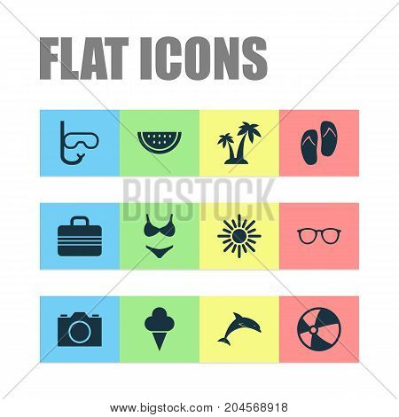 Season Icons Set. Collection Of Baggage, Video, Balloon And Other Elements