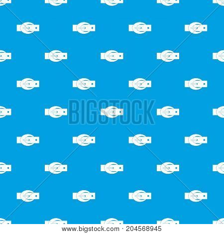 Oval belt buckle pattern repeat seamless in blue color for any design. Vector geometric illustration