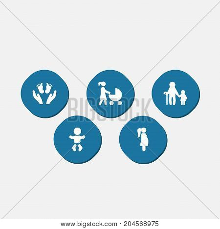 Collection Of Look After, Expectant Mother, Kid And Other Elements.  Set Of 5 People Icons Set.