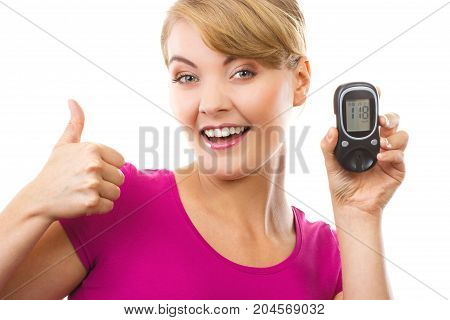 Woman Holding Glucose Meter And Showing Thumbs Up, Checking And Measuring Sugar Level Concept