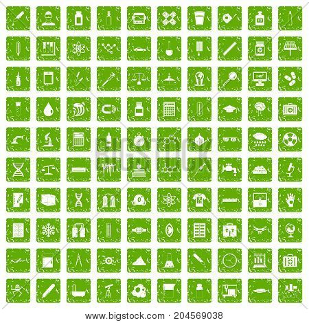 100 laboratory icons set in grunge style green color isolated on white background vector illustration