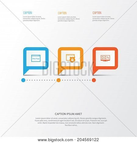SEO Icons Set. Collection Of Website, Newsletter, Security And Other Elements