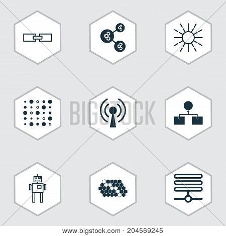 Learning Icons Set. Collection Of Radio Waves, Related Information, Cyborg And Other Elements
