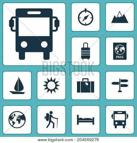 Journey Icons Set. Collection Of Doss, Certificate, Boat And Other Elements