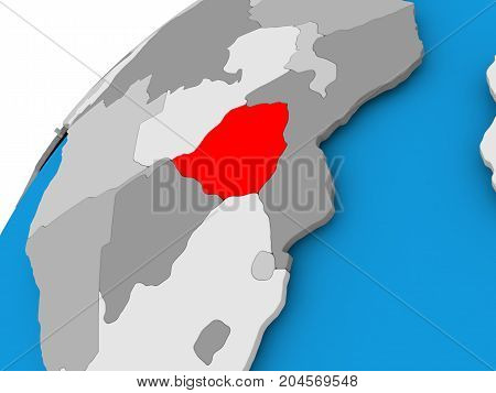 Map Of Zimbabwe In Red