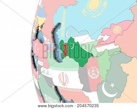 Flag Of Turkmenistan On Political Globe
