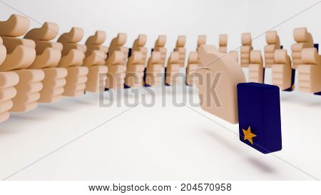Thumb up sign surrounded by a crowd of thumb up signs in neat circular formation. The 3d illustration portrays approval of everyone present in a meeting or campaign. It also denotes everybody liking an idea.