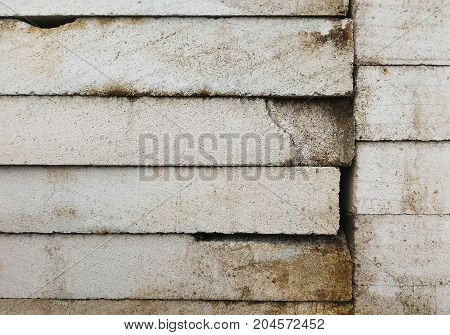 detail broken white wall brick for background