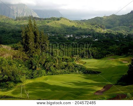 Tropical Hawaiian Golf Course with Jungle and Mountains