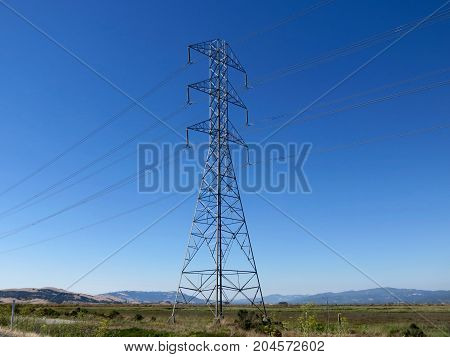 Industrial Electrical Power Lines in the San Francisco Bay Area.