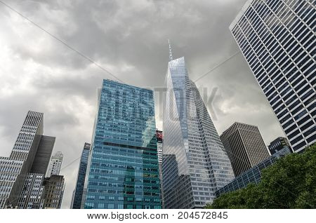 NEW YORK USA 10 AUGUST 2017: bottom-up view to skyscrapers in Midtown Manhattan