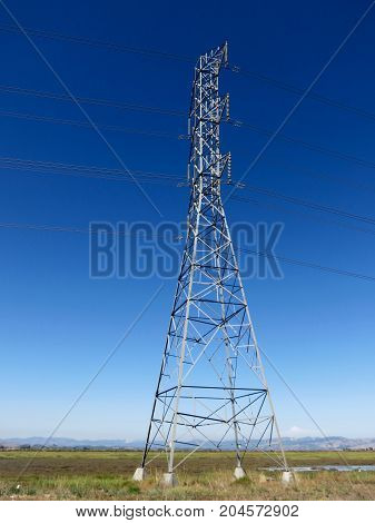 Industrial High Voltage Power Line Tower in San Francisco Bay Area