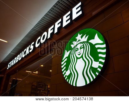 Penang Malaysia - Jul 8 2017: Starbucks coffee shop in shopping mall. Starbucks is the largest coffeehouse company in the world.