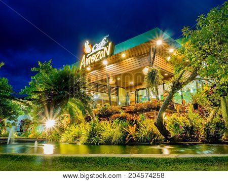 Songkhla Thailand - September 9 2017: Cafe Amazon coffee shop with blue sky background. Café Amazon has been in the coffee business for 11 years since 2002.