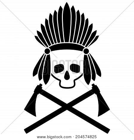 Skull Indian chief. Black and white picture. Icon. Vector illustration