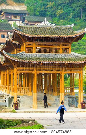 Wooden Covered Bridge Miao Village Xijiang China