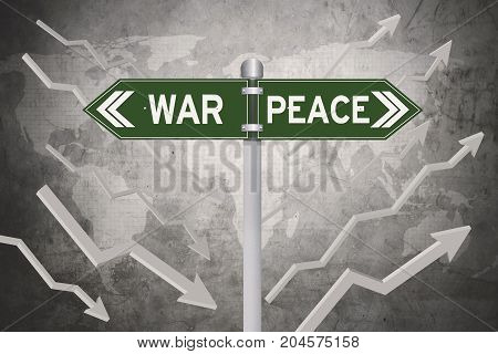 Green signboard with decision of war or peace and world map in the background