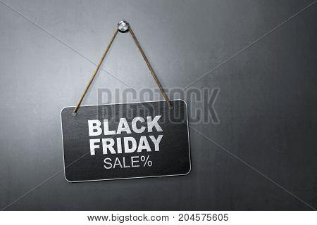 Black Friday Discount Sale Message Written On Hanging Blackboard
