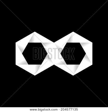 Hexagon infinity logo sign, 2d origami style raster icon. Vector illustration
