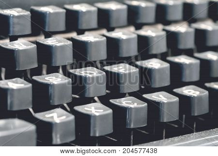 Classic old vintage typewriter keyboard and keys