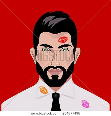 Man with lipstick imprint on face and shirt. Symbol of adultery, womanizer. Vector illustration