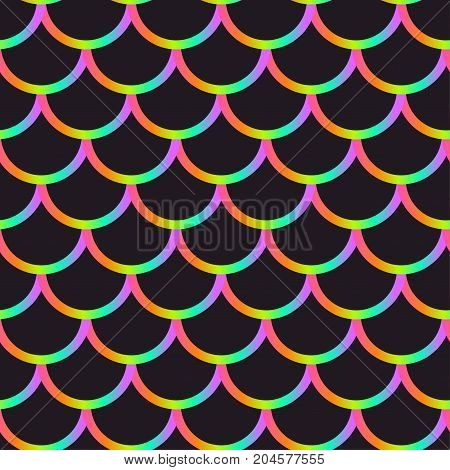 Mermaid black scales. Gradient vector seamless pattern.