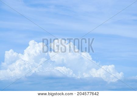 bright blue sky with big white cloud