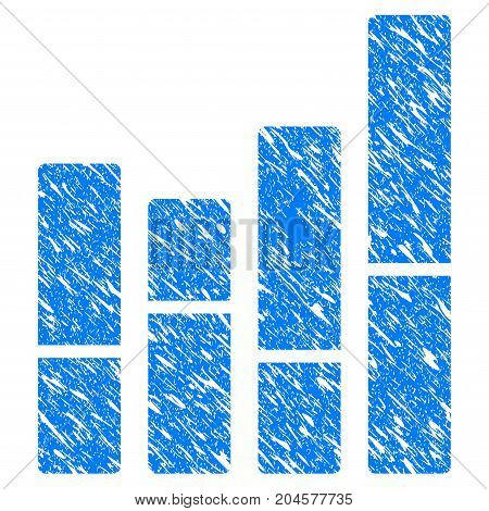Grunge Bar Chart icon with grunge design and dust texture. Unclean vector blue bar chart pictogram for rubber seal stamp imitations and watermarks. Draft emblem symbol.