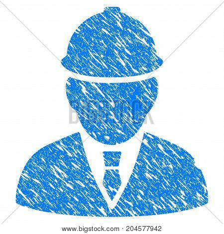 Grunge Engineer icon with grunge design and unclean texture. Unclean vector blue engineer pictogram for rubber seal stamp imitations and watermarks. Draft emblem symbol.