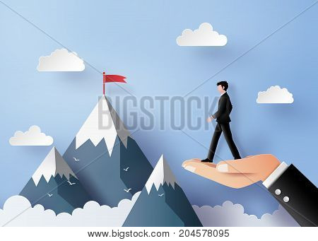 bussiness concept of vision and leader.bussiness man walking on the hand The illustrations do the same paper art and craft style