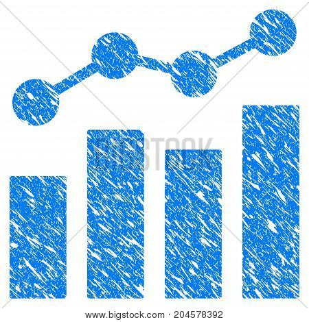 Grunge Stats Charts icon with grunge design and dust texture. Unclean vector blue stats charts pictogram for rubber seal stamp imitations and watermarks. Draft sticker symbol.