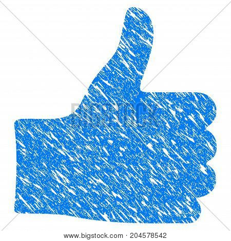 Grunge Thumb Up icon with grunge design and dirty texture. Unclean vector blue thumb up pictogram for rubber seal stamp imitations and watermarks. Draft sticker symbol.