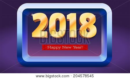 Happy New Year 2018. Volumetric numbers from gold. Red banner with text. Golden glittering, shining text. Greeting card, poster, brochure or flyer template. Vector 3D illustration.